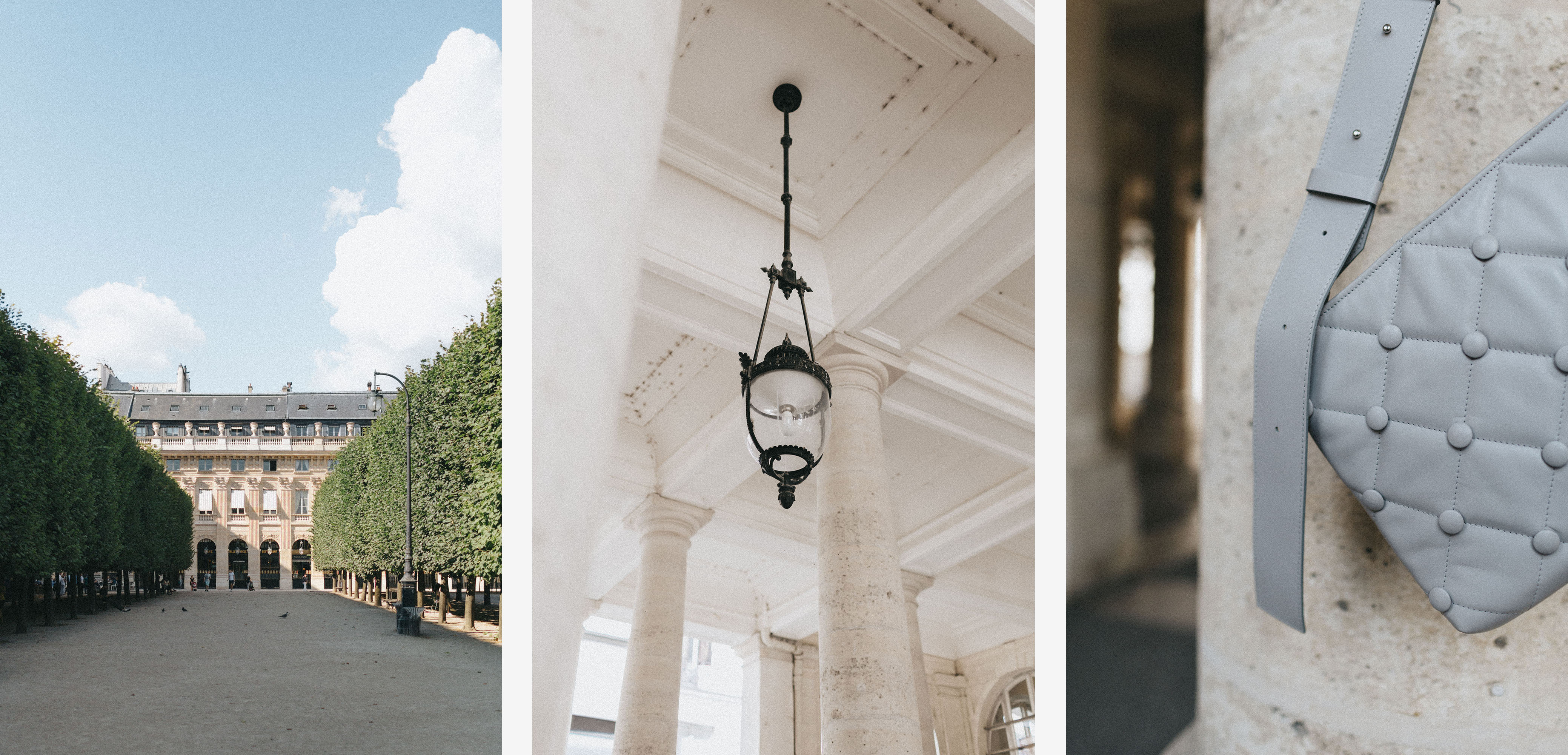 Palais Royale garden in Summer, Paris. White ceilings and columns in Palais Royale, Paris.  Laimushka grey leather quilted handbag with shoulder strap in front of the column in Palais Royale