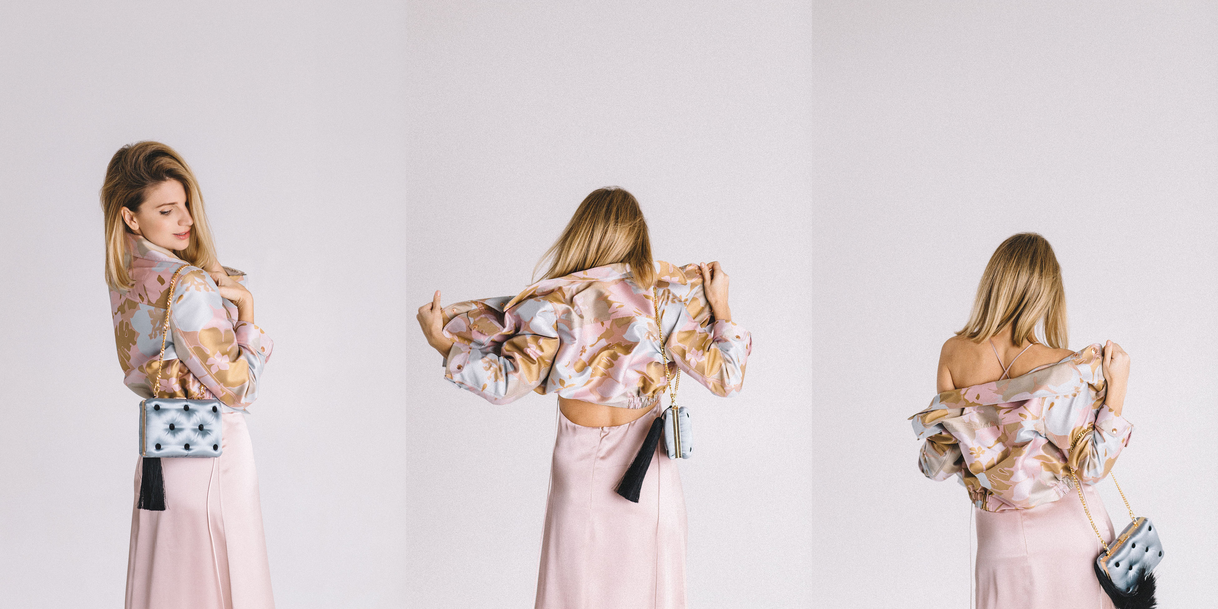 The Coat by Katya Silchenko collaboration with Laimushka, light blue evening silk purse with a tassel