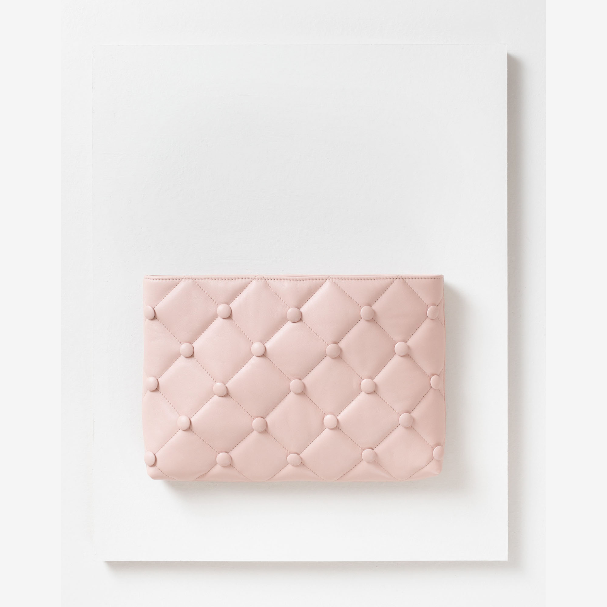 Laimushka nude leather quilted oversized clutch bag