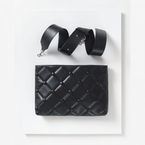 Laimushka black leather quilted handbag with shoulder strap