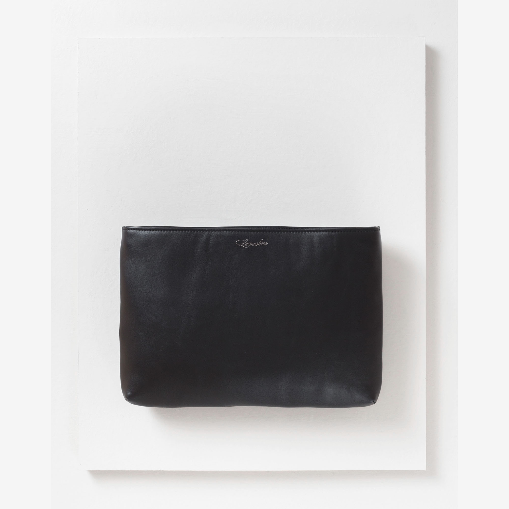 Laimushka black leather quilted oversized pouch