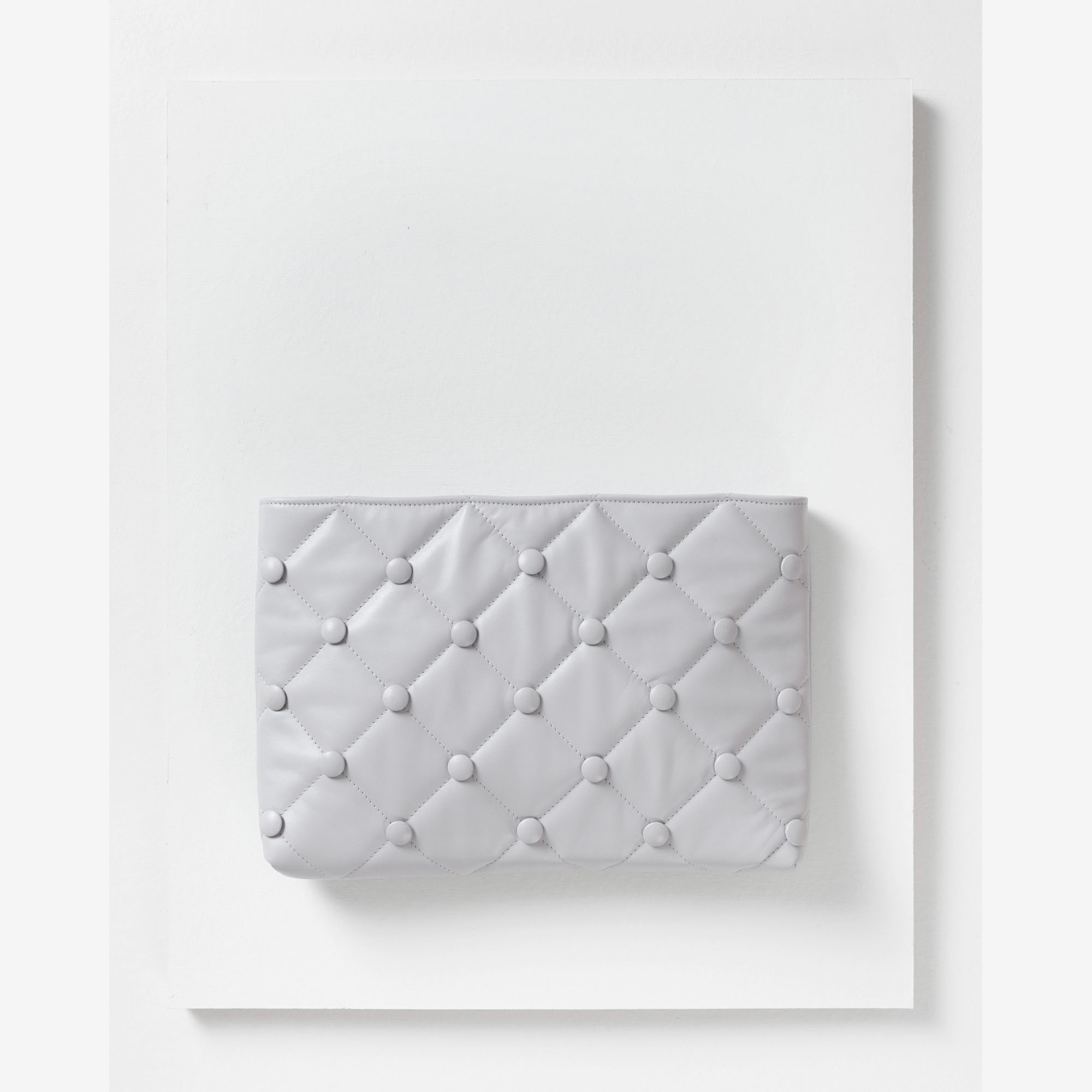 Laimushka grey leather quilted oversized clutch bag