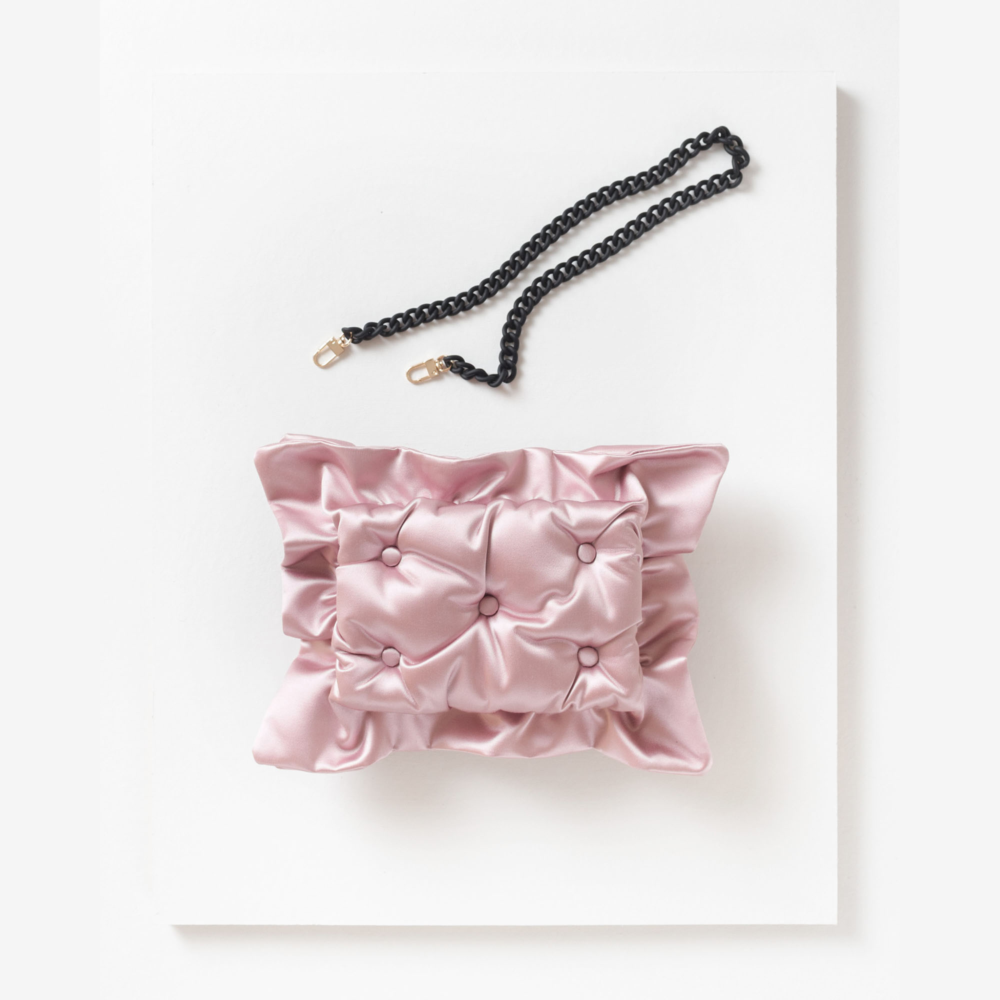 Laimushka pastel pink quilted silk pillow bag with chain strap